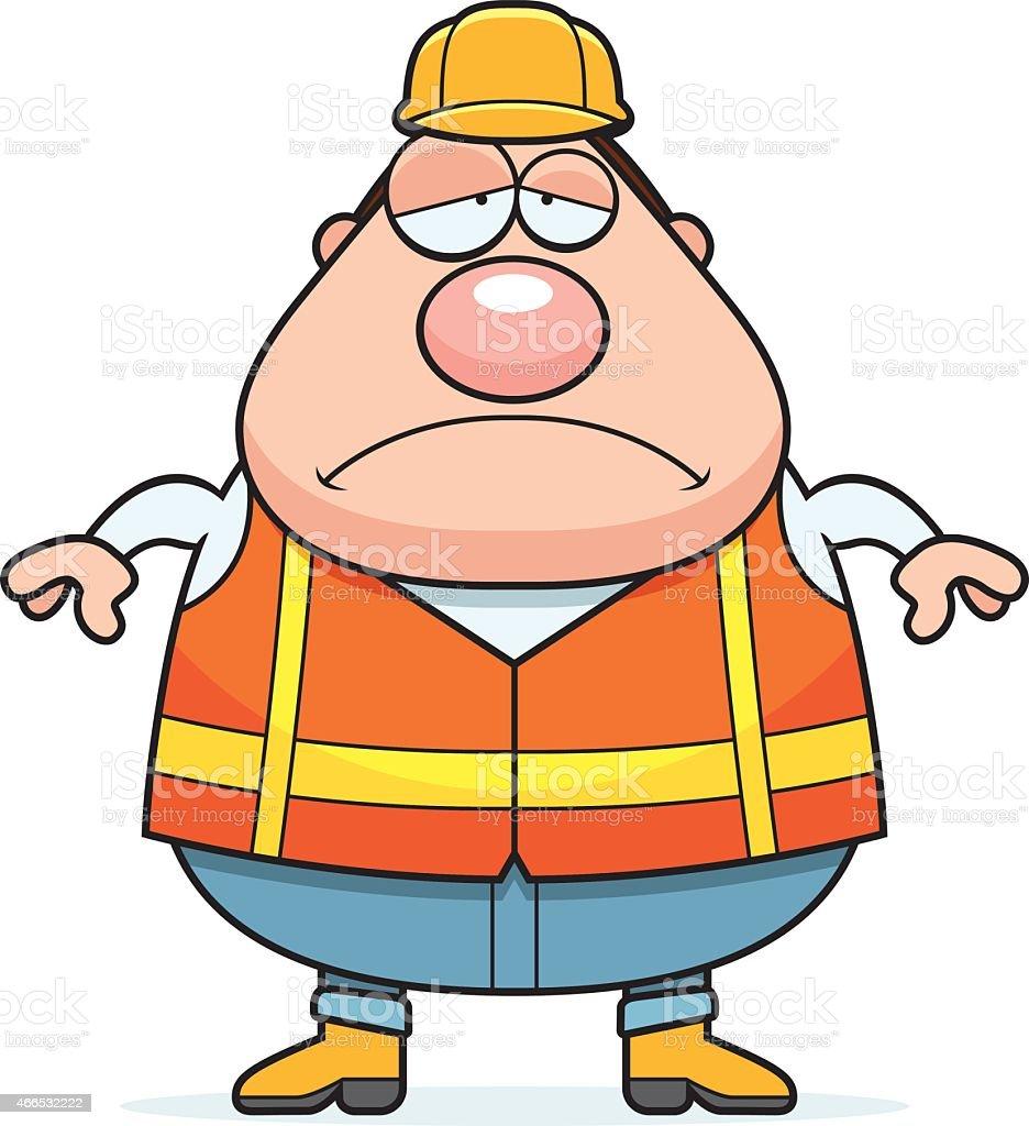 Bauarbeiter bei der arbeit comic  Traurig Comic Road Arbeiter Vektor Illustration 466532222 | iStock