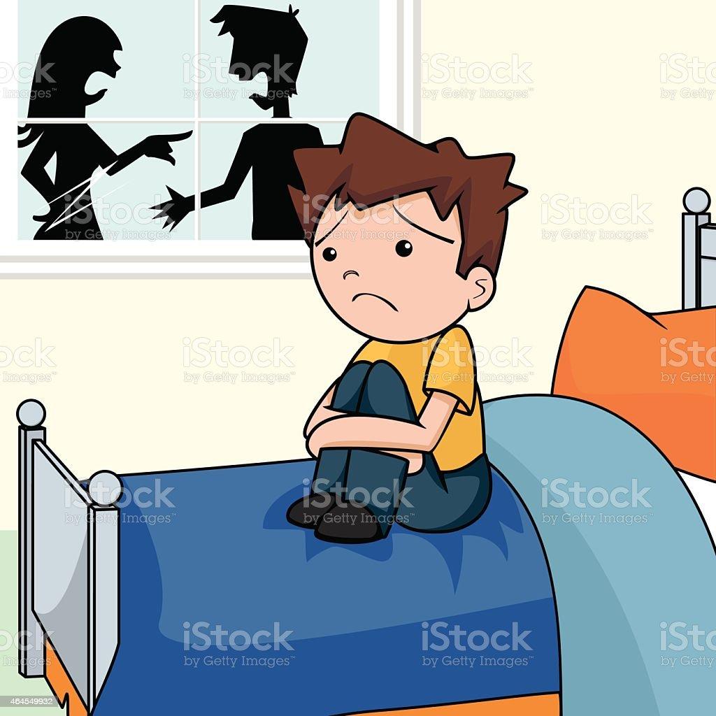 Sad child in bedroom, arguing people vector art illustration