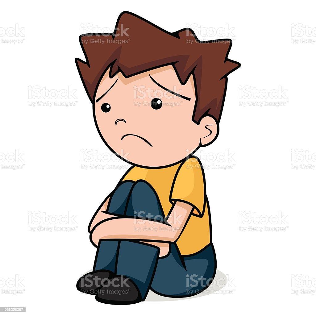 Sad child, vector illustration vector art illustration