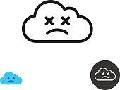 Sad cloud icon linear style