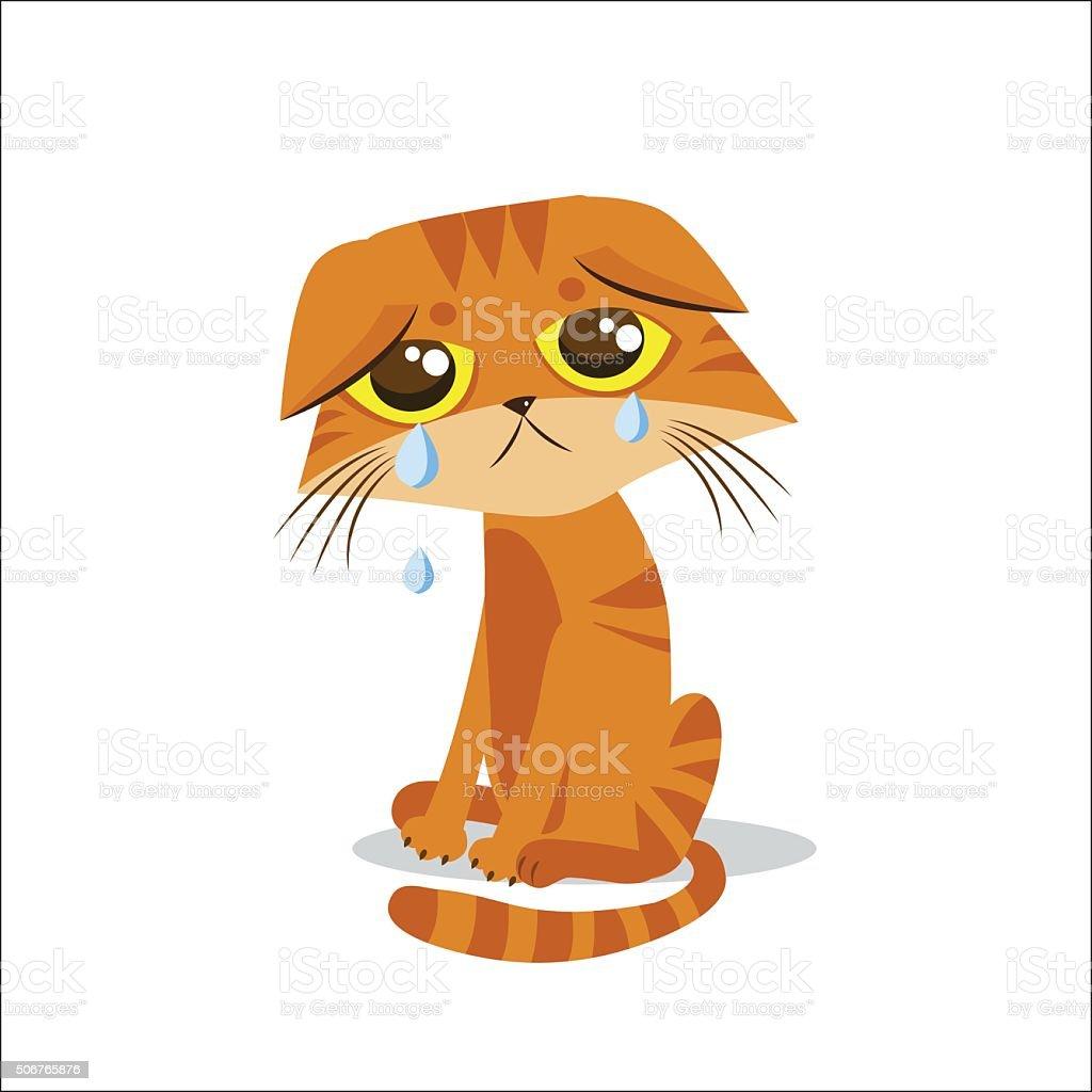 Sad Crying Cat. Cartoon Vector Illustration. Crying Cat Meme. vector art illustration