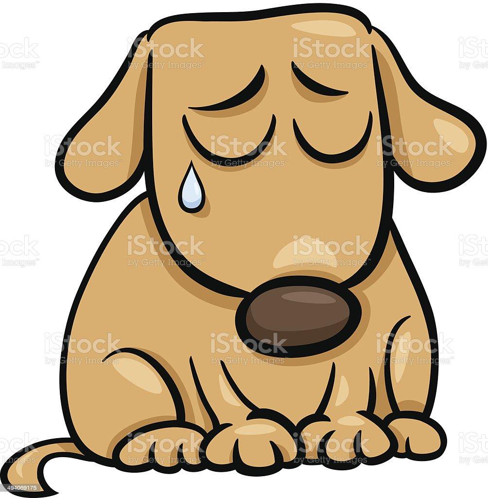 sad dog cartoon illustration vector art illustration