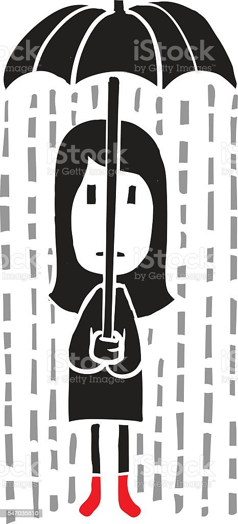 Sad girl in the rain vector art illustration