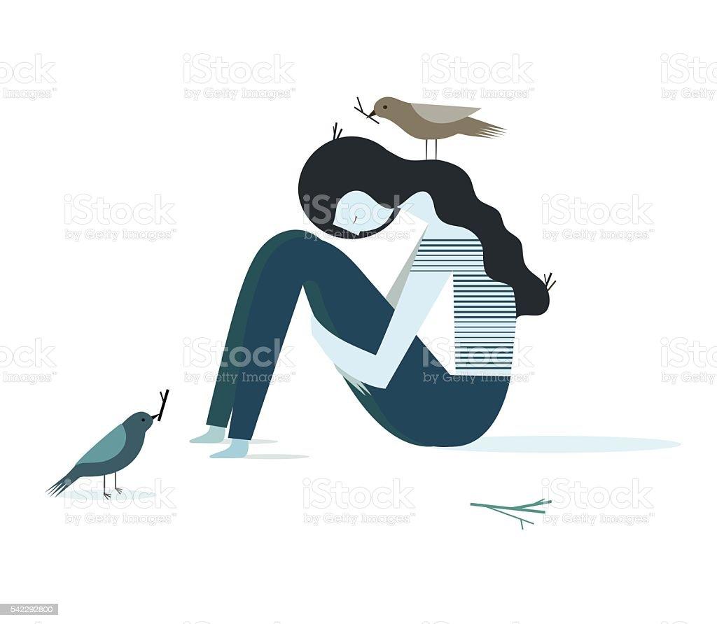 Sad girl vector art illustration