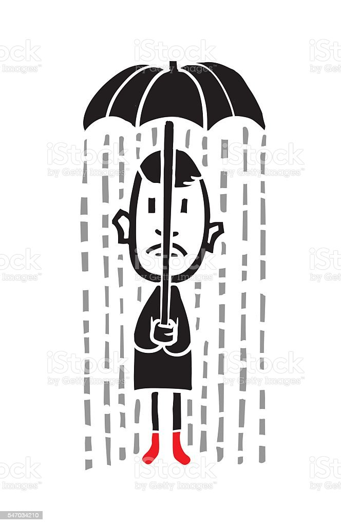 Sad guy in the rain vector art illustration