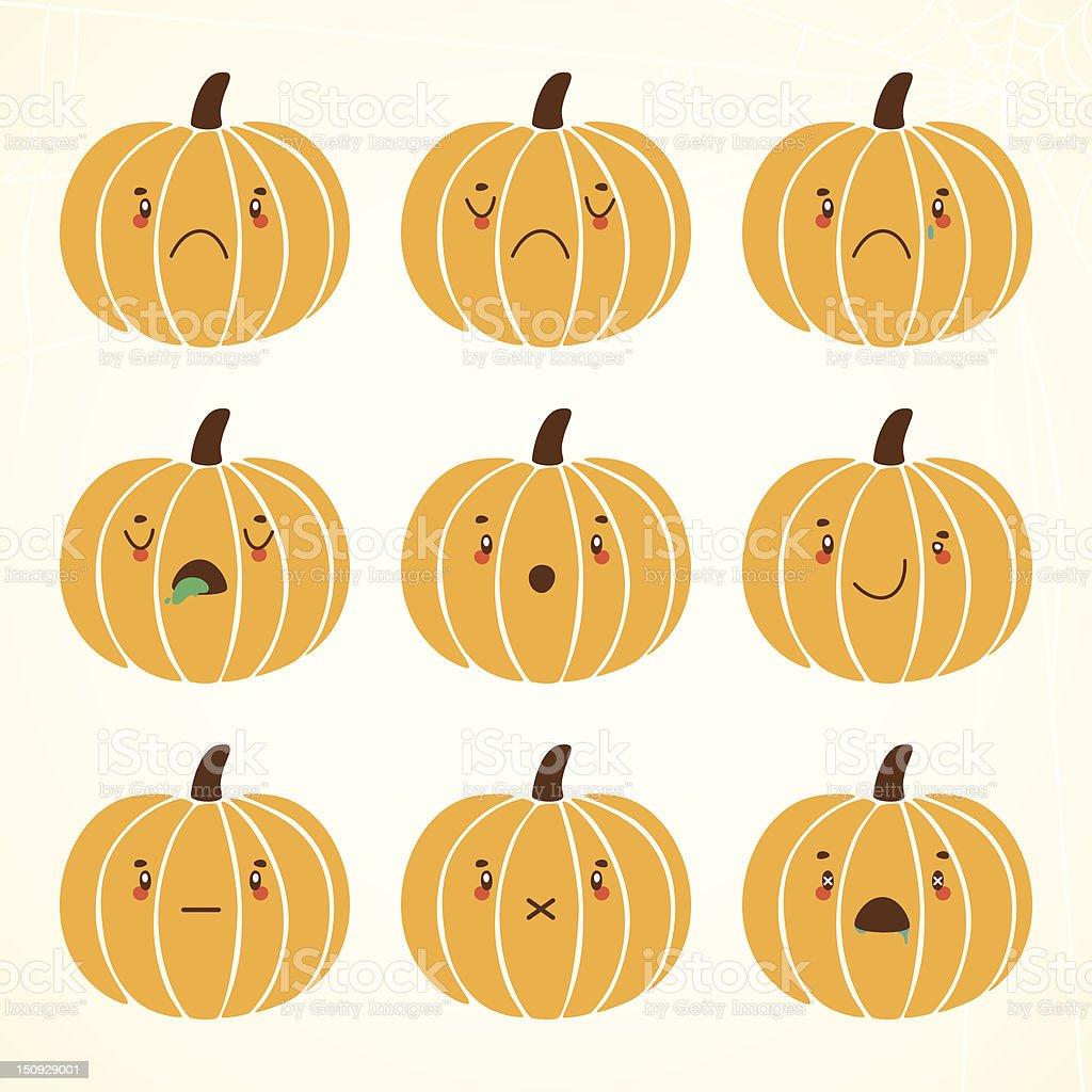 Sad halloween pumpkin royalty-free stock vector art