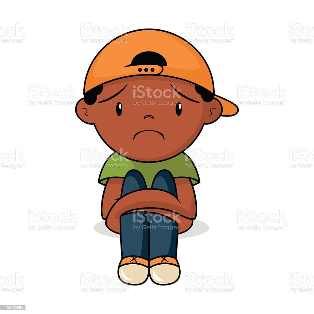 Sad kid, vector illustration vector art illustration