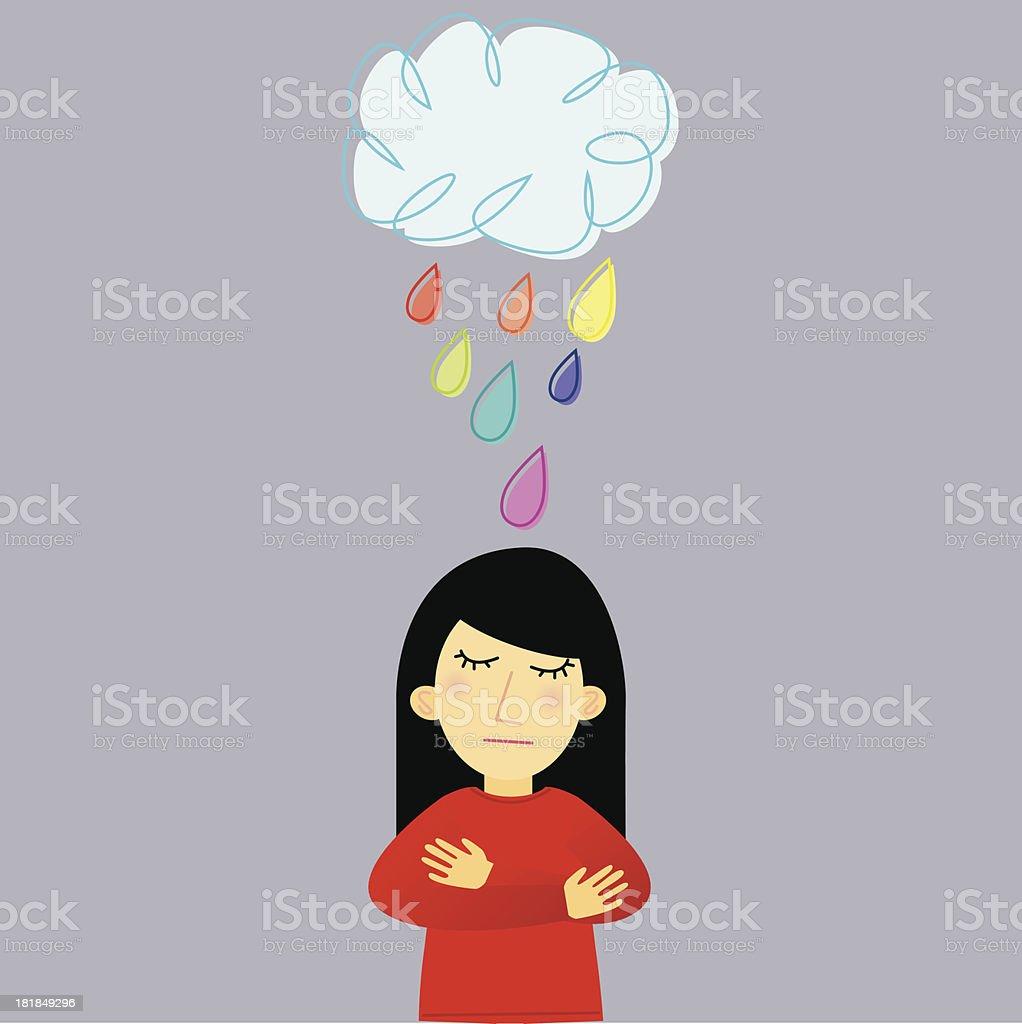 Sad Lady Under Raining Cloud vector art illustration