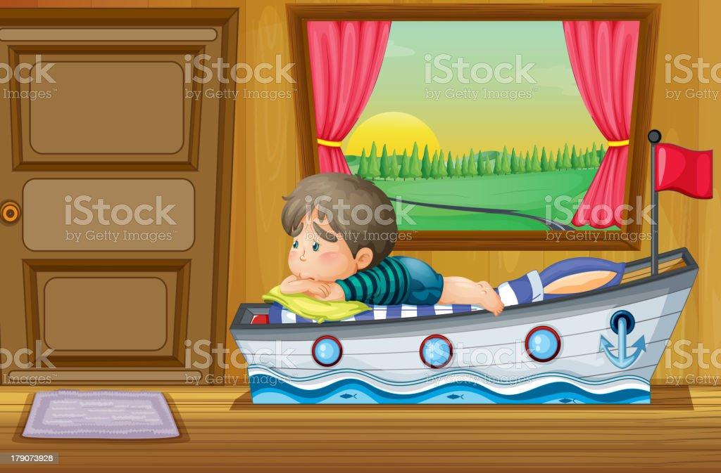 sad little boy inside the house royalty-free stock vector art