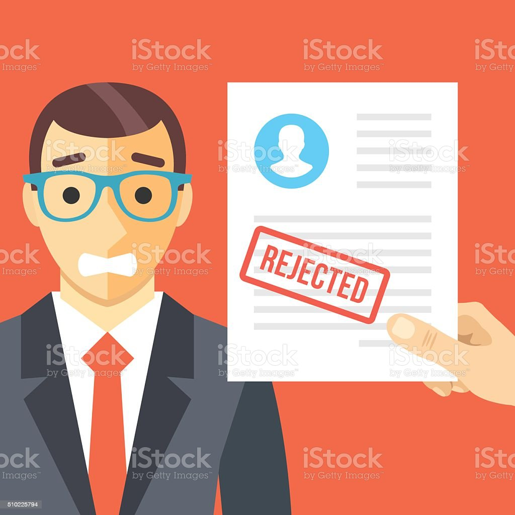 Sad man and rejected application form flat illustration concept vector art illustration
