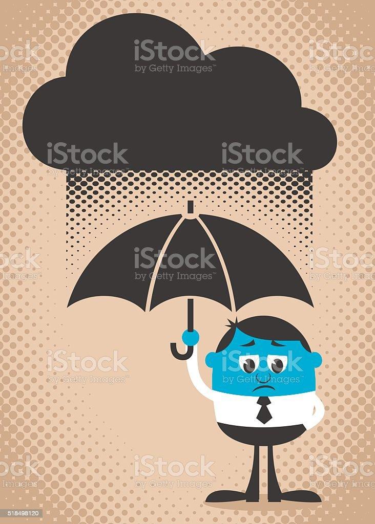 Sad Man vector art illustration