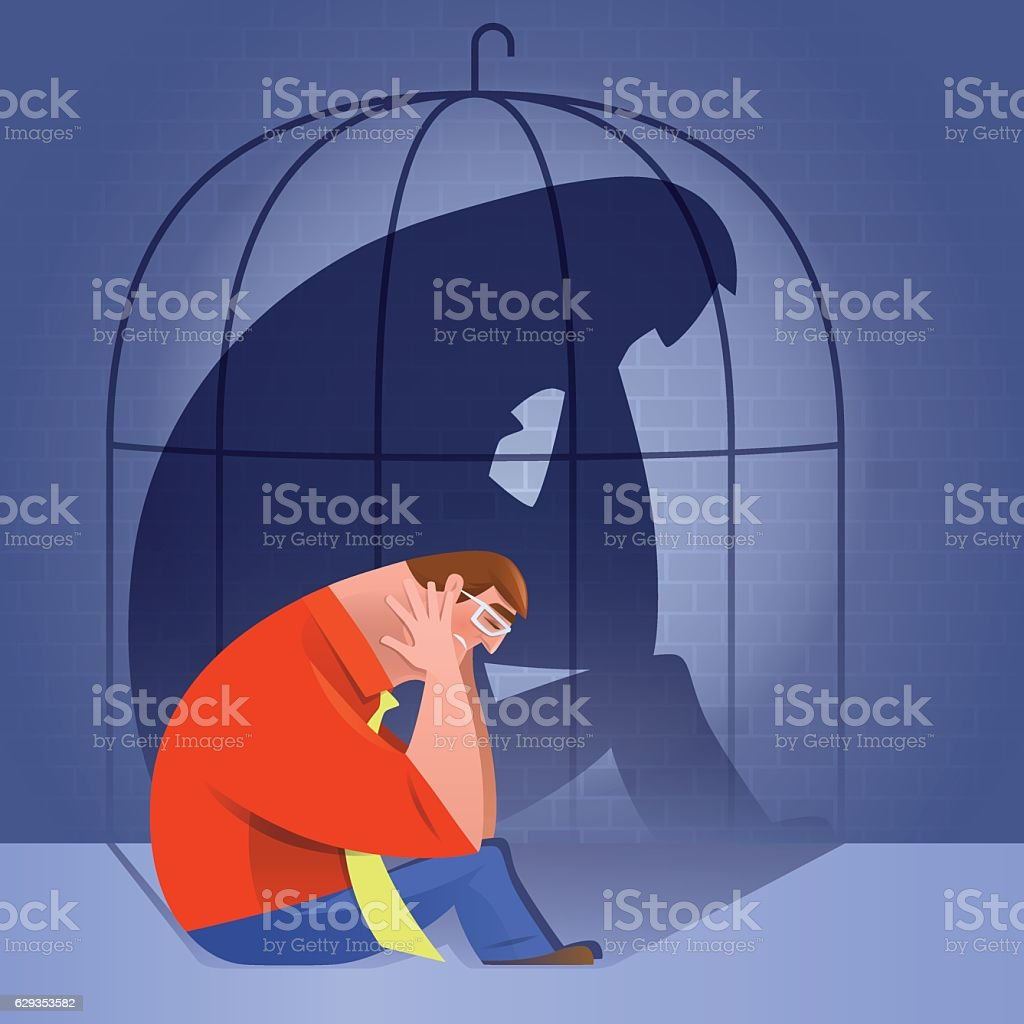 sad man with caged shadow vector art illustration