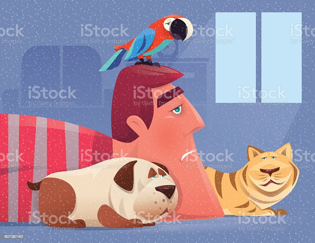 sad man with pets vector art illustration