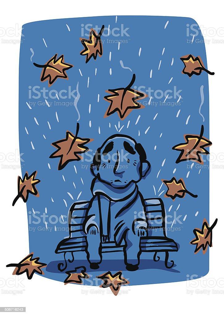 Sad old man in the rain of autumn royalty-free stock vector art