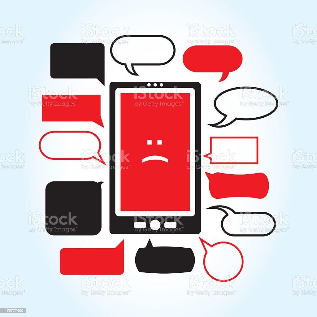 Sad Phone vector art illustration