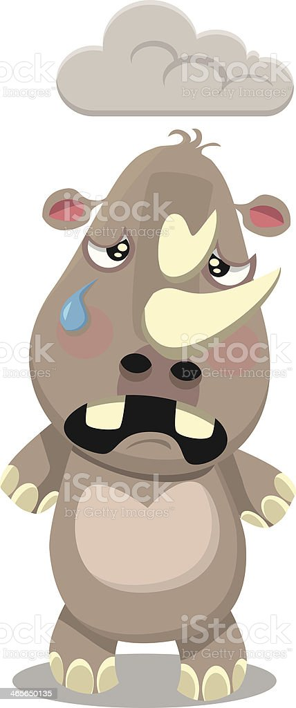 Sad Rhino royalty-free stock vector art