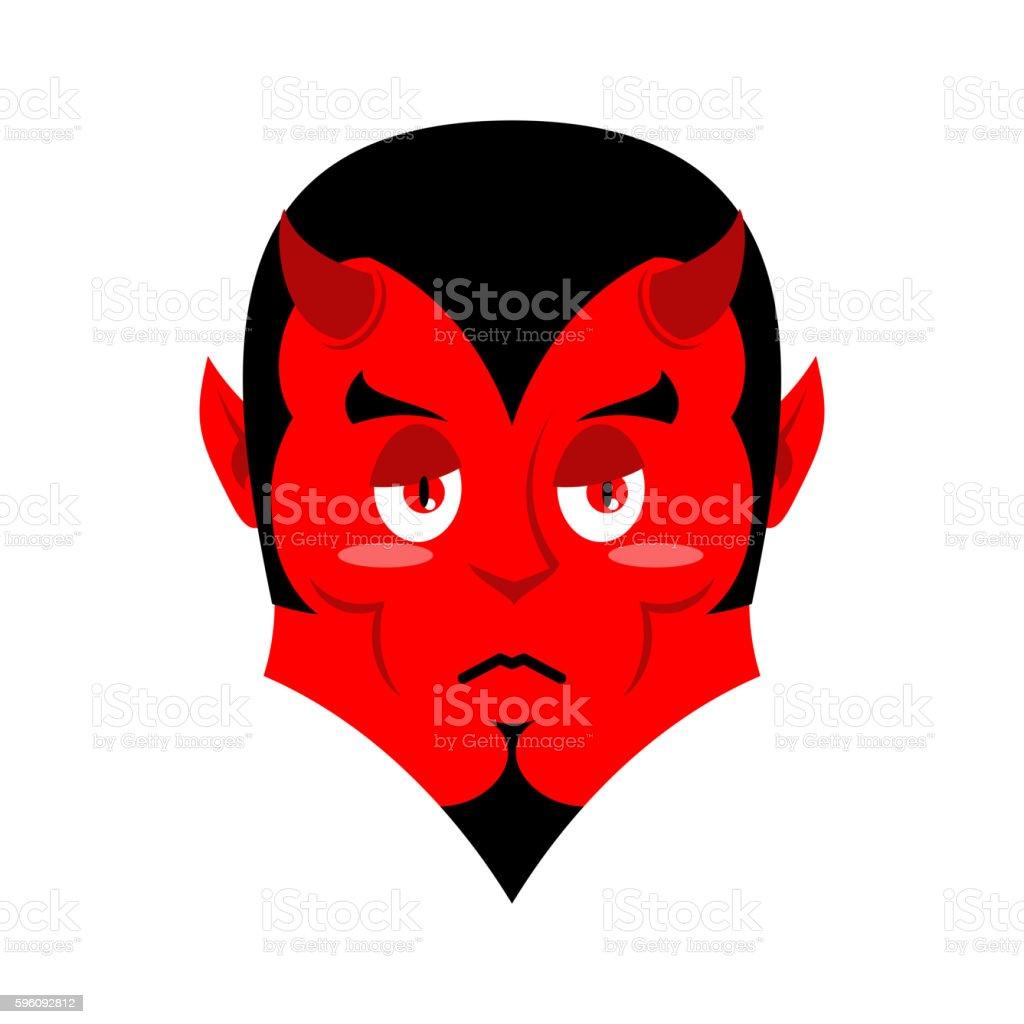 Sad Satan. Sorrowful red devil. Pessimistic demon. Pitiful face. vector art illustration
