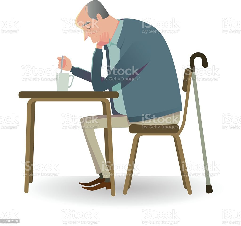 Sad senior man with cane sitting on a chair. vector art illustration