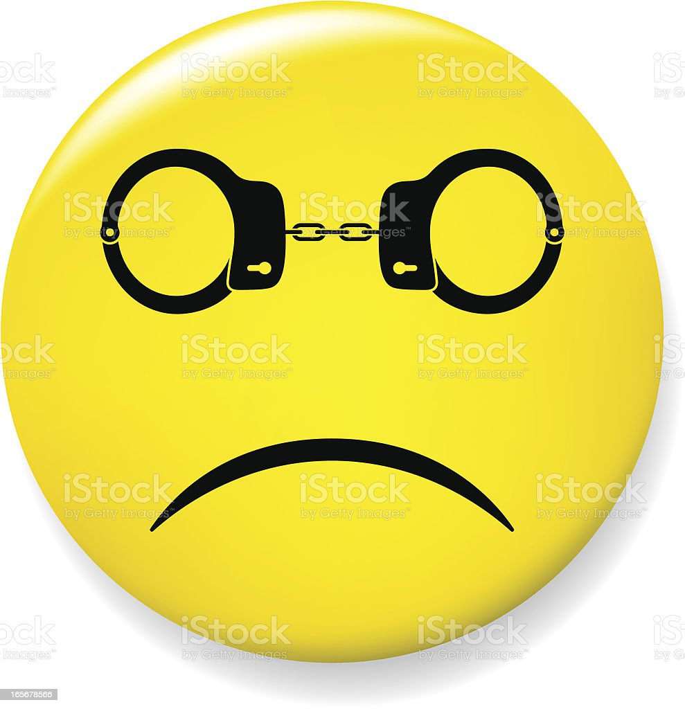 Sad smile pin with handcuffs glasses vector art illustration