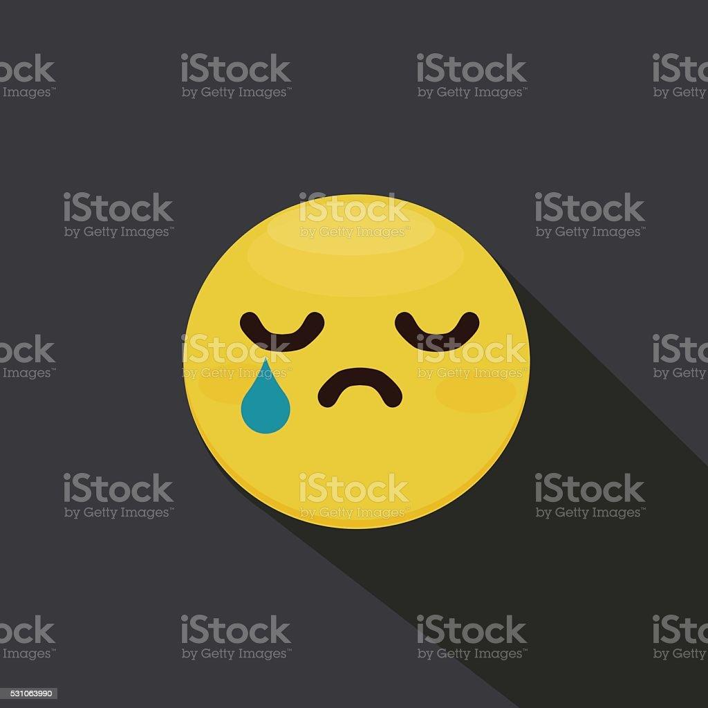 Sad smiley emoticon. Flat Vector vector art illustration