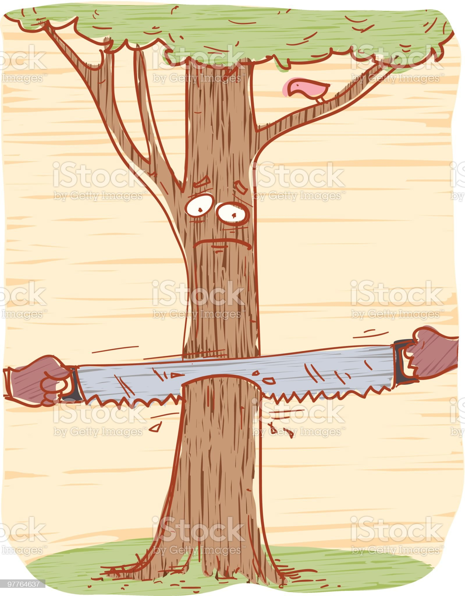 Sad tree royalty-free stock vector art