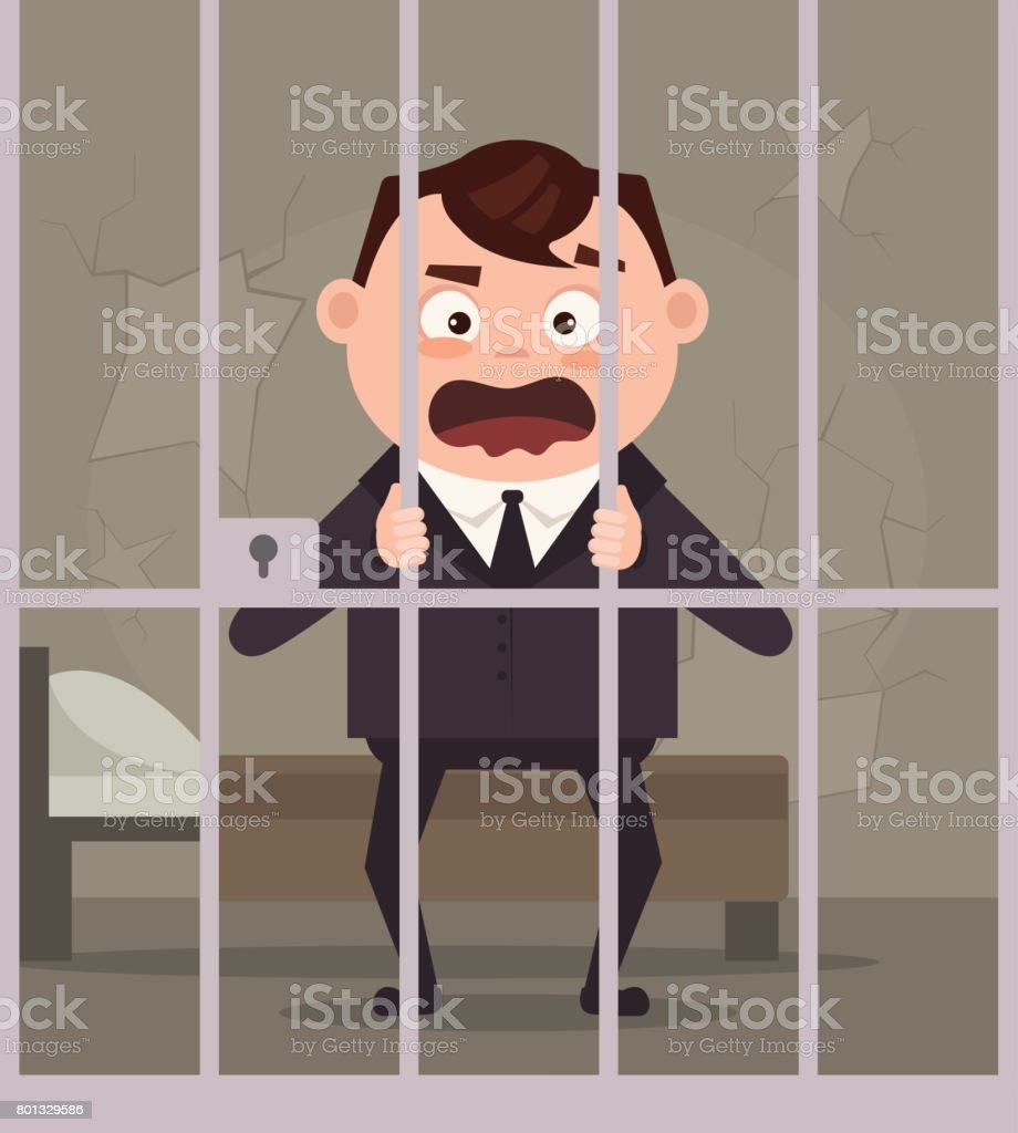 Sad unhappy crying prisoner business office worker man character in jail vector art illustration