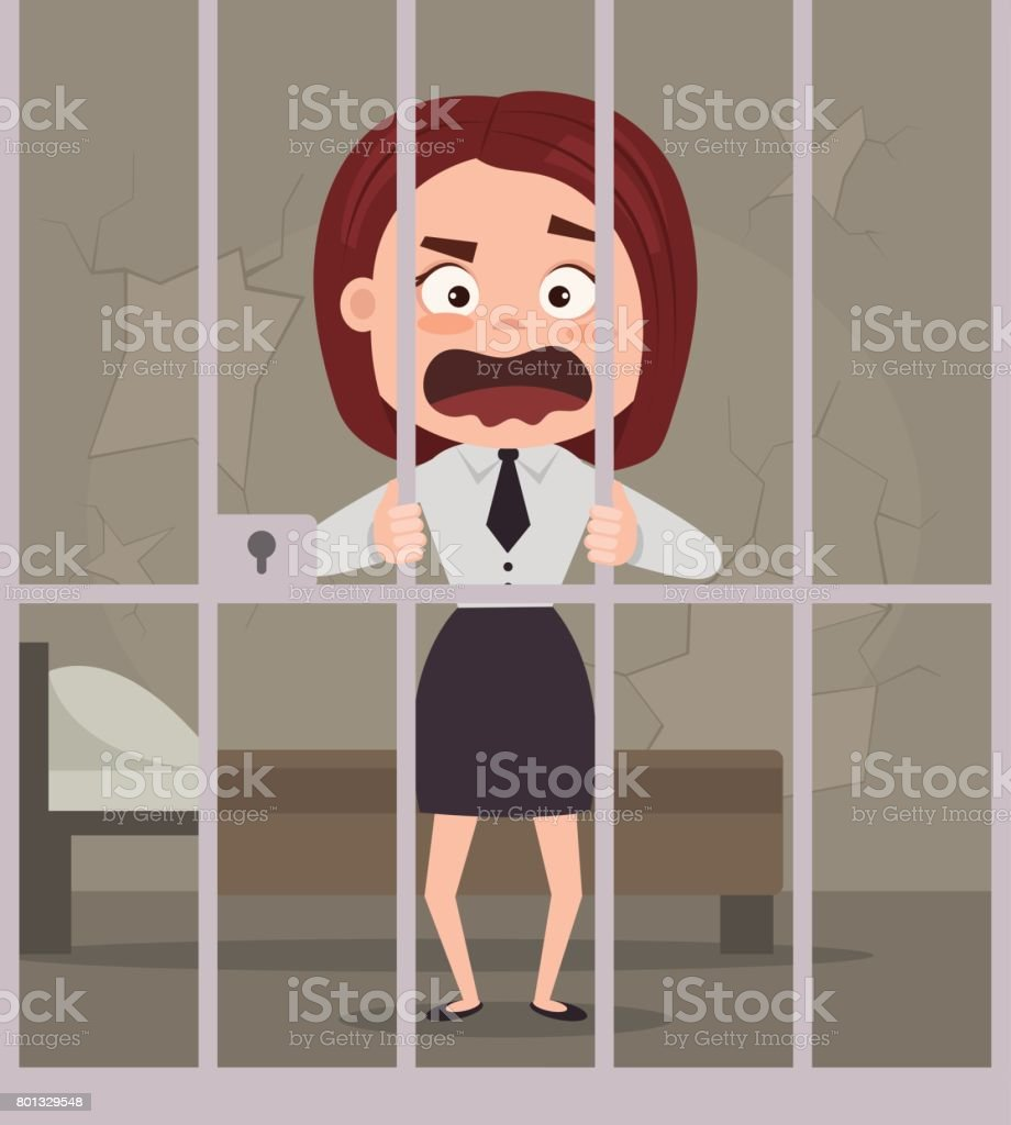 Sad unhappy crying prisoner business office worker woman character in jail vector art illustration