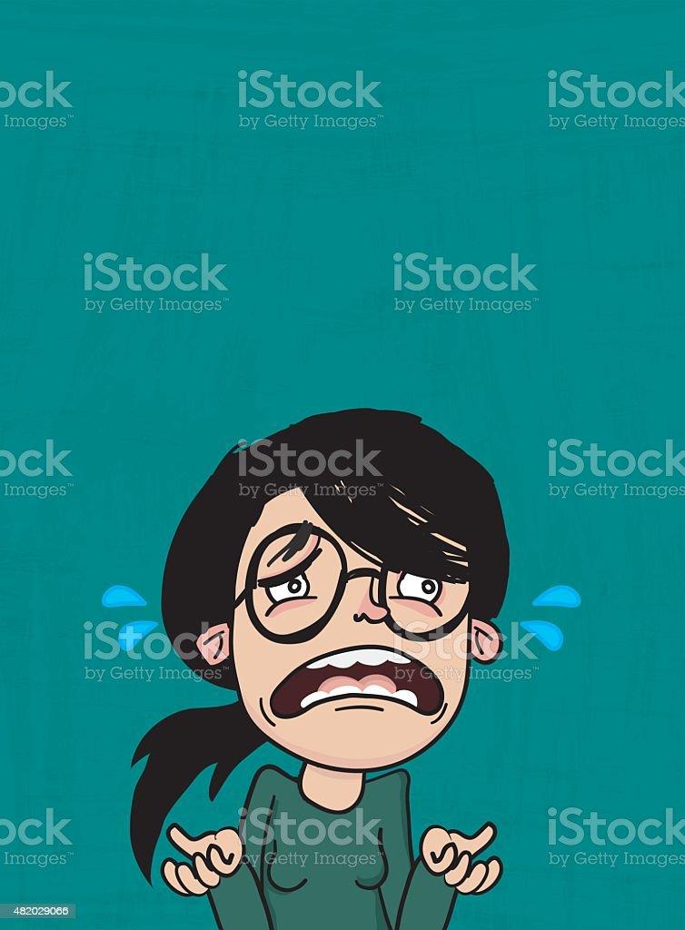 Sad Woman Character vector art illustration