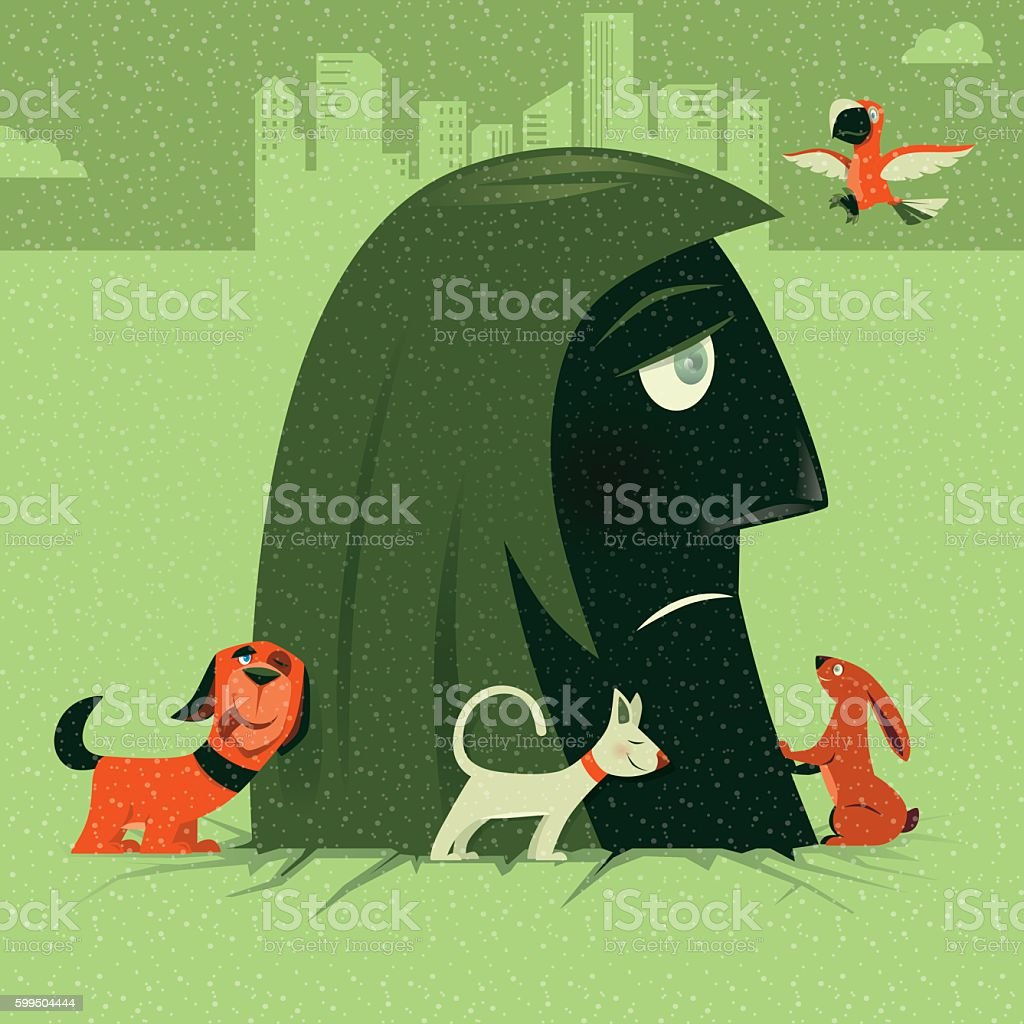 sad woman with pets vector art illustration