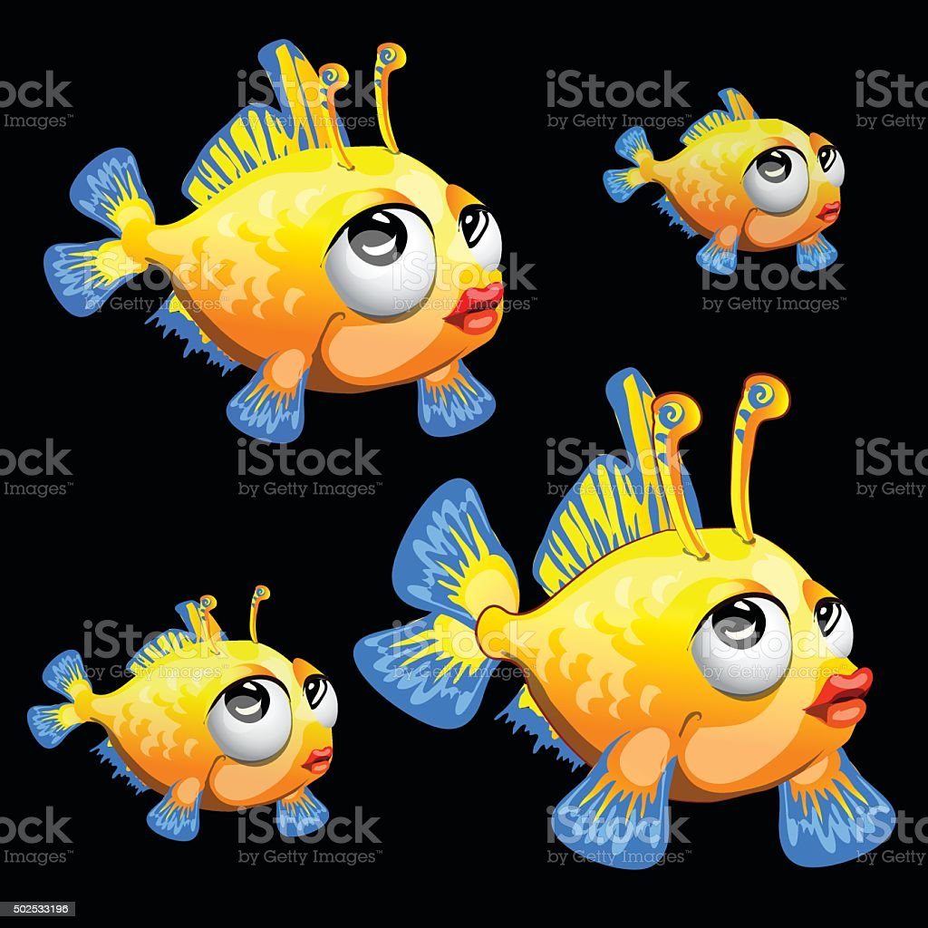 Sad yellow fish with antenna and blue fins, toon vector art illustration