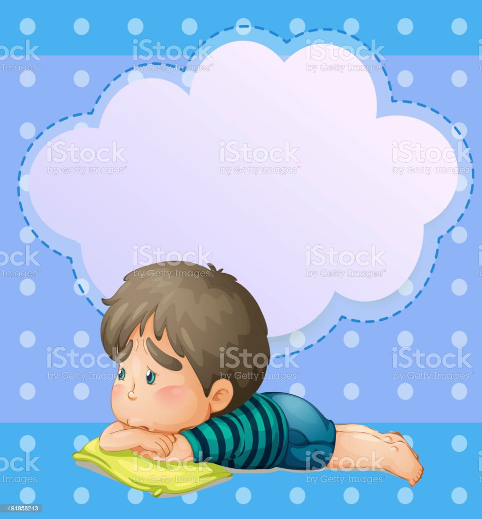 Sad young boy with an empty callout royalty-free stock vector art