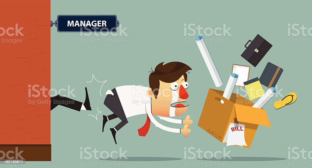 Sadness businessman being kicked out of the door. Cartoon character. vector art illustration