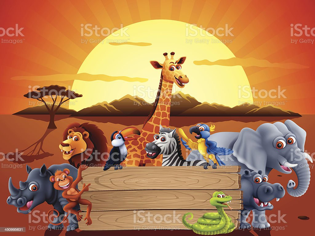 Safari animals and a sunset behind a wood sign vector art illustration