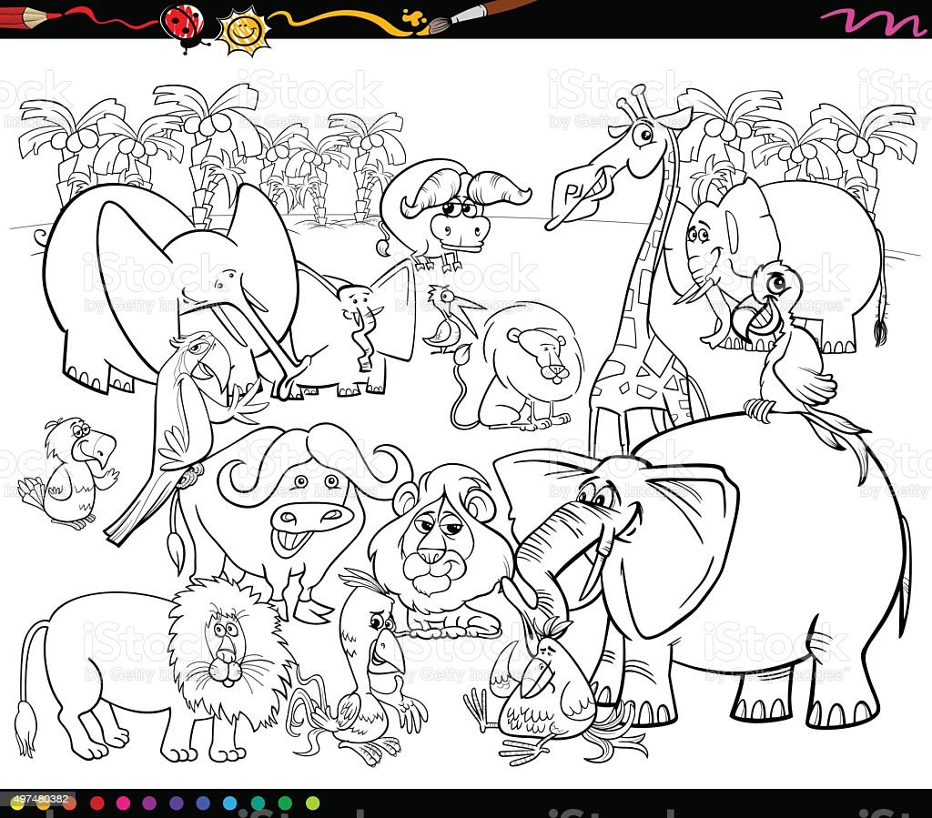 Safari Animals Coloring Book stock vector art 497480382 | iStock