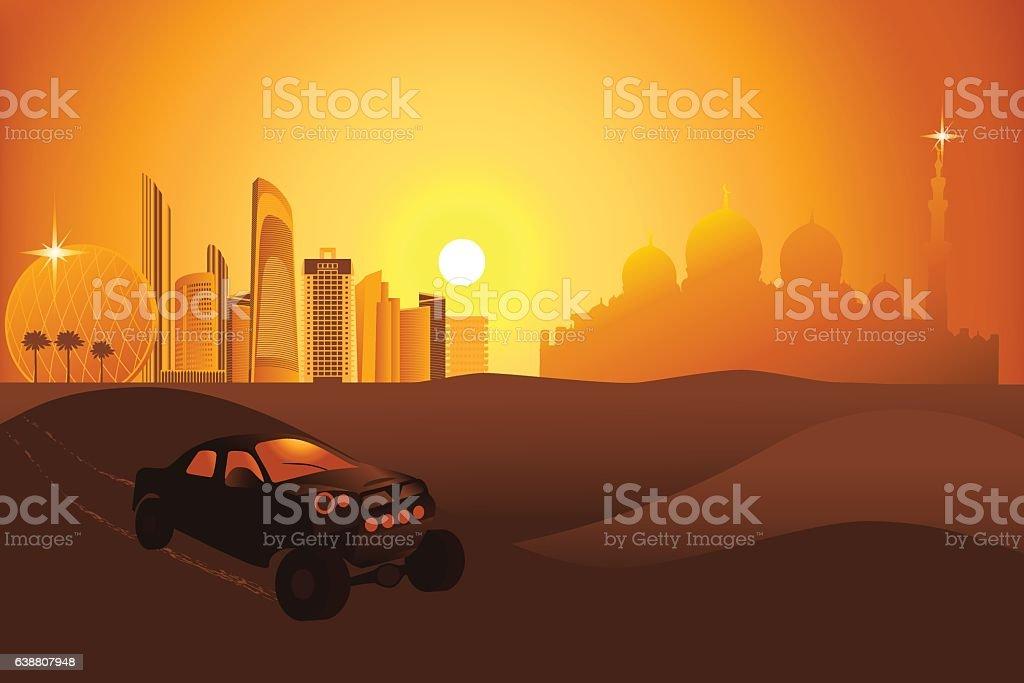 Safari cars in the desert near Abu-Dhabi city vector art illustration