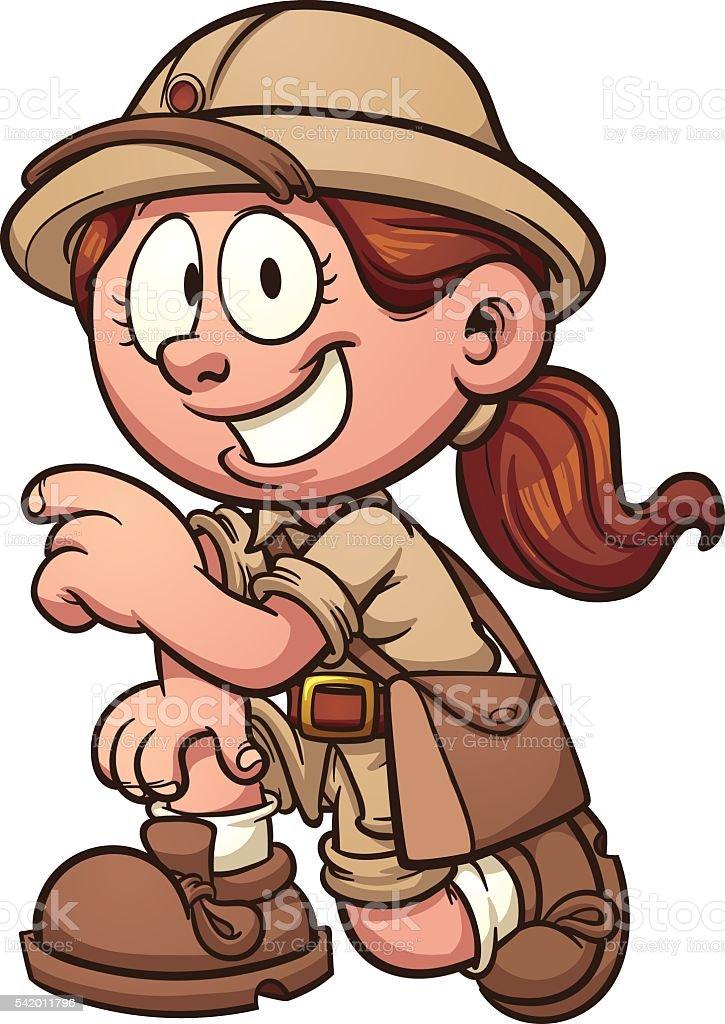 Safari girl vector art illustration
