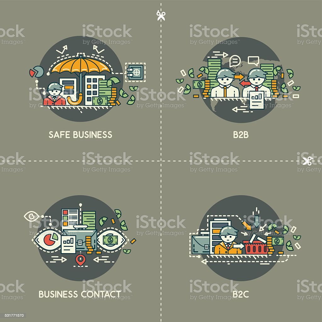 Safe business, b2b, business contact, b2c vector art illustration