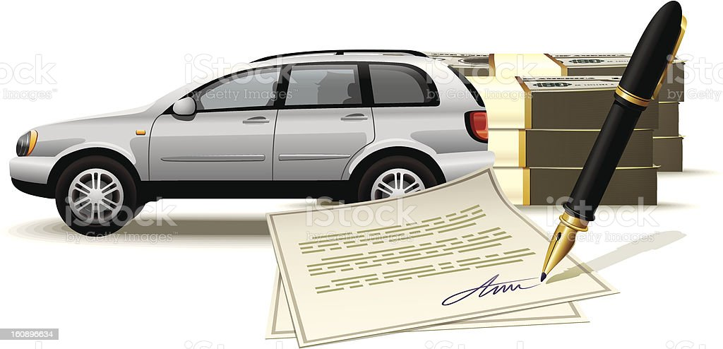 Safe buying and selling a car for cash vector art illustration