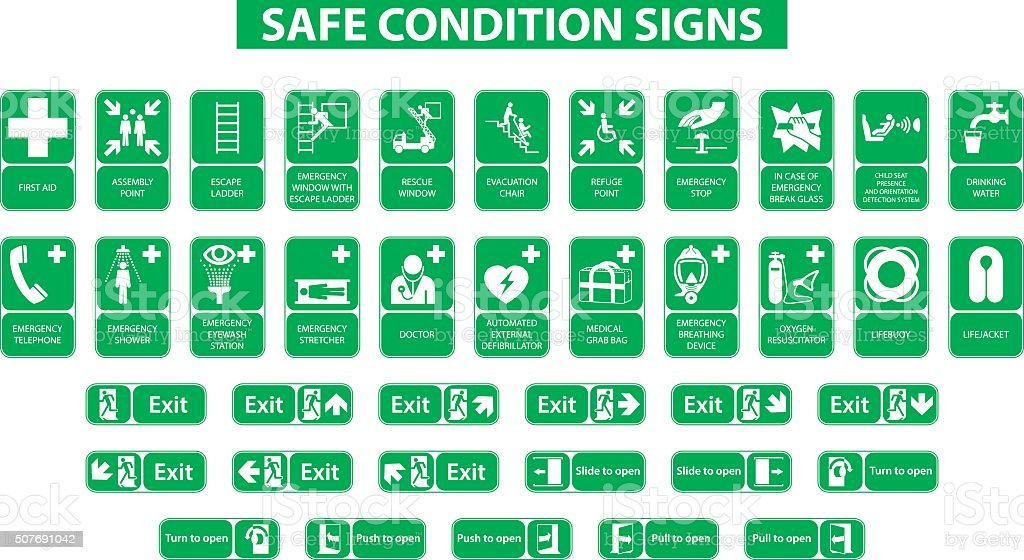 safe condition signs vector art illustration