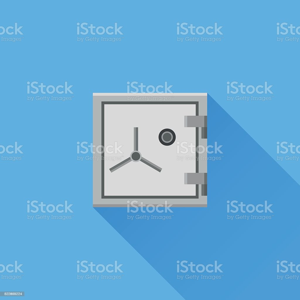 Safe flat icon with long shadow on blue background vector art illustration