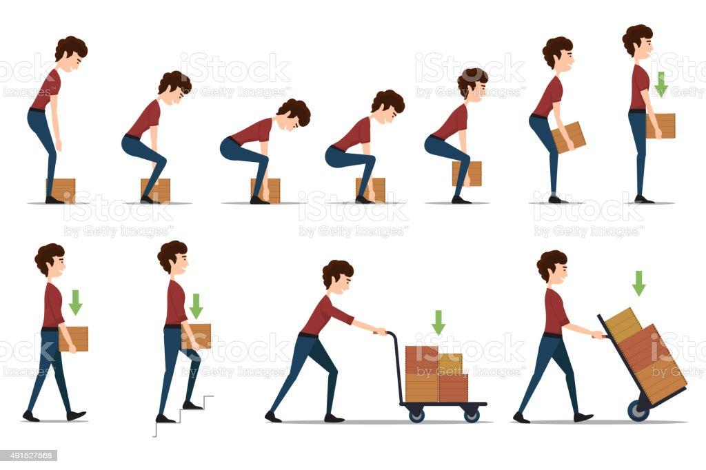 Safe handling and transportation of heavy items vector art illustration