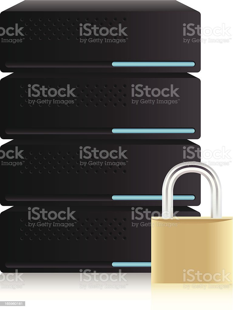 Safe server and data base, security concept royalty-free stock vector art