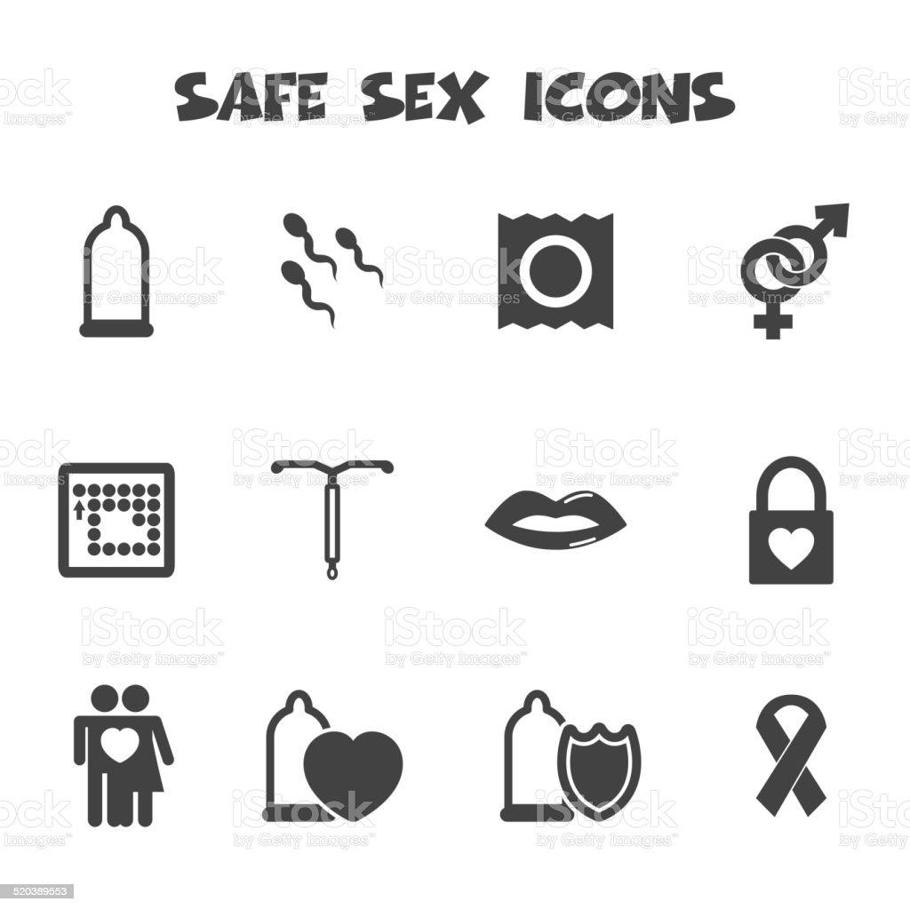 safe sex icons vector art illustration