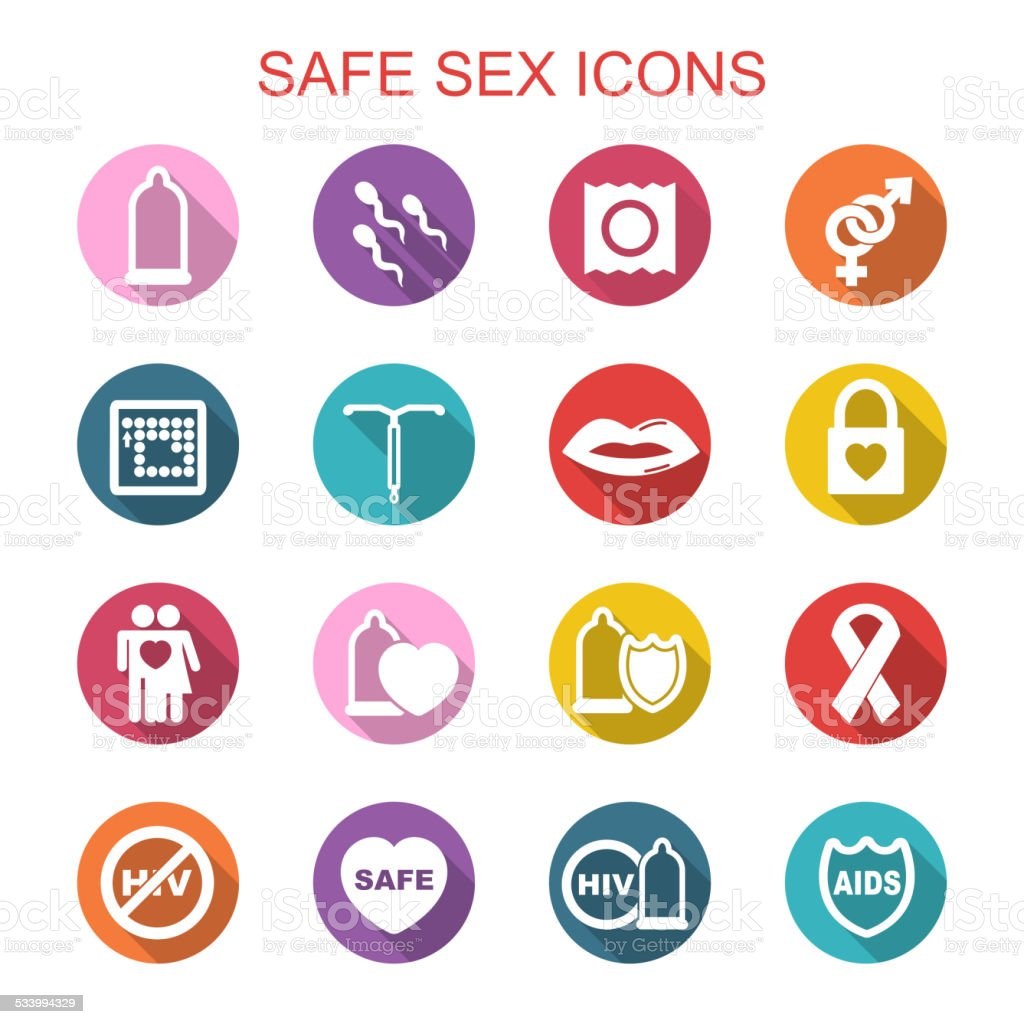 safe sex long shadow icons vector art illustration