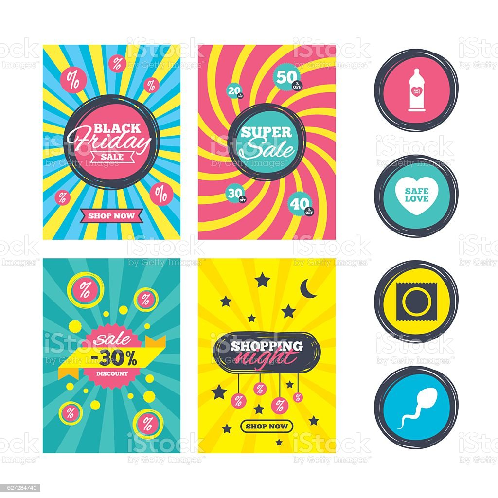 Safe sex love icons. Condom in package symbols. vector art illustration