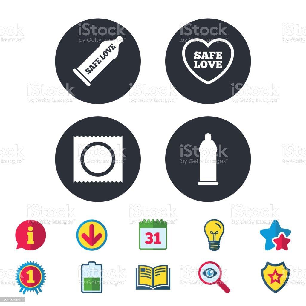 Safe sex love icons. Condom in package symbols. vector art illustration