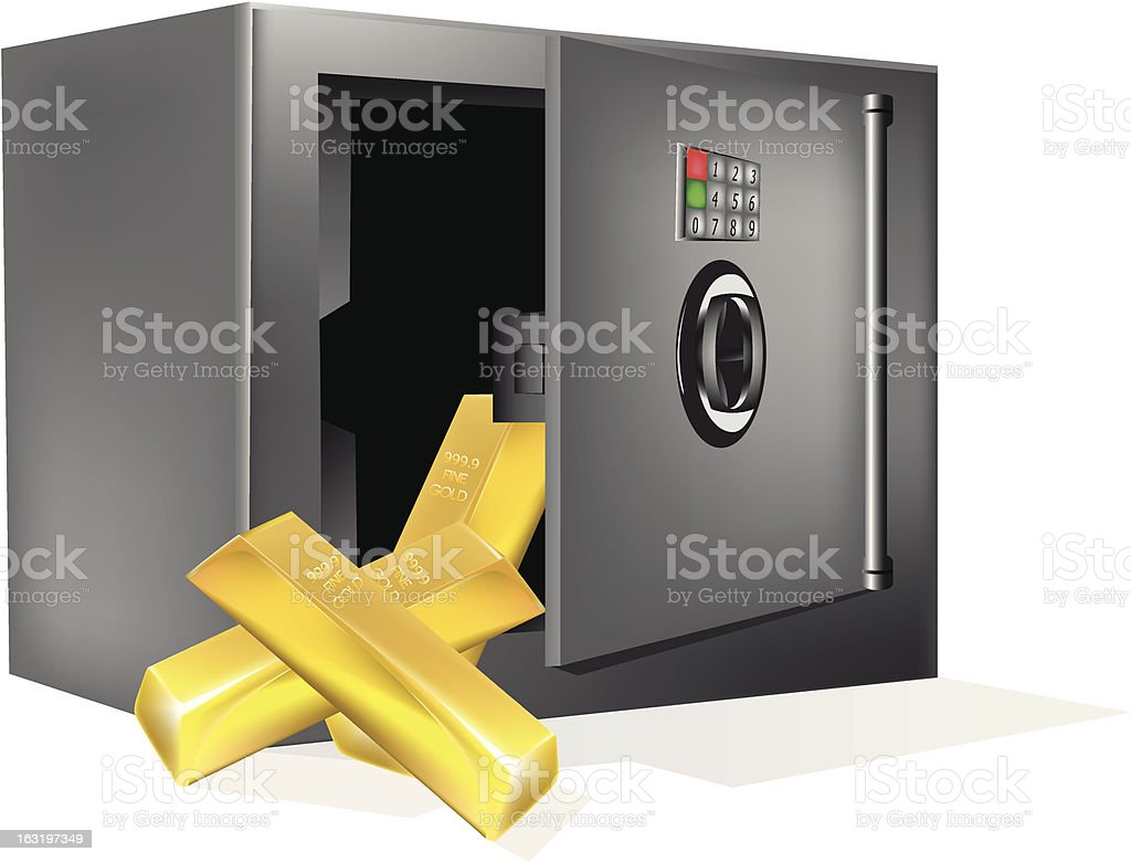 safe with gold royalty-free stock vector art