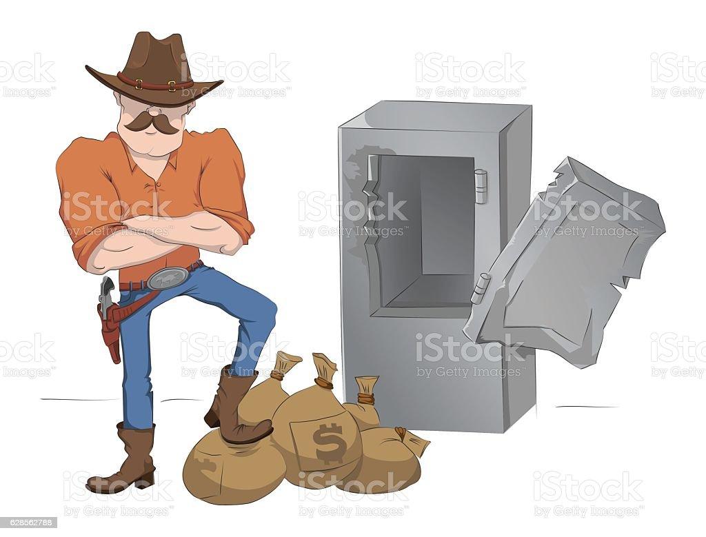 Safecracker with gun and money. vector art illustration