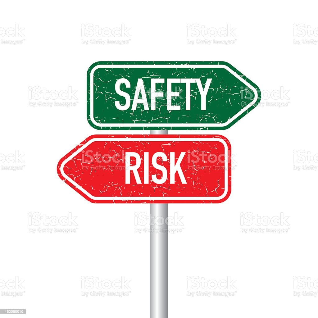 Safety and risk signpost vector art illustration