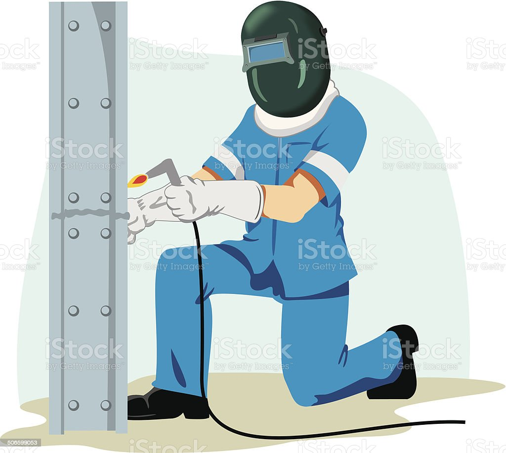 Safety at work, employee using protective equipment for welding vector art illustration